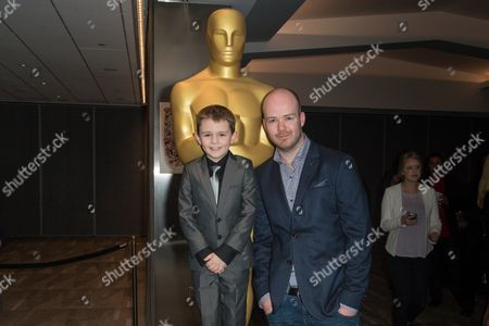 """Riley Hamilton, left, and Michael Lennox arrive at the 87th Academy Awards - """"Shorts"""" at the Samuel Goldwyn Theater on in Beverly Hills, Calif"""