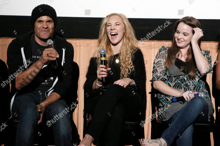 """Director Elgin James, Juno Temple and Kay Panabaker attend a screening of """"Little Birds"""" presented by Ben Lyons and Hello Giggles at the Grove on in Los Angeles"""