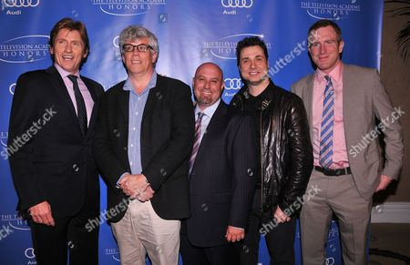 """MAY 2: (L-R) Actors Denis Leary, Peter Tolan, executive producer Jim Serpico, actor Adam Ferrara and executive producer Evan T. Reilly arrive at the Academy of Television Arts & Sciences Presents """"The 5th Annual Television Academy Honors"""" at the Beverly Hills Hotel on in Beverly Hills, California"""