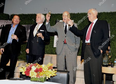 "OCTOBER 13: (L-R) Actors Garry Shandling, Dick Van Dyke, honoree Carl Reiner and writer Bill Persky onstage at the Academy of Television Arts & Sciences Presents: ""An Evening Honoring Carl Reiner"" at the Leonard H. Goldenson Theatre on in North Hollywood, California"
