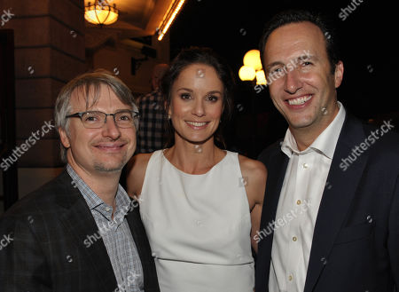 "From left, writer/ producer Glen Mazzara, actress Sarah Wayne Callies, and AMC President Charlie Collier attend the season three premiere of AMC's ""The Walking Dead"" at Universal Studios, in Los Angeles"