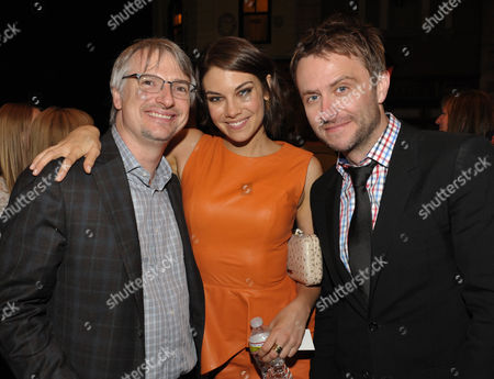 "Glen Mazzara, Lauren Cohan, and Chris Hardwick attend the premiere of ""The Walking Dead"" at Universal Studios, in Los Angeles"