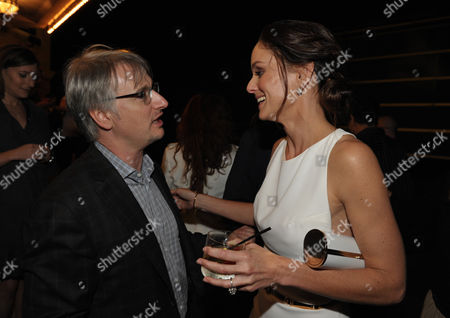 "Glen Mazzara, left, and Sarah Wayne Callies attend the premiere of ""The Walking Dead"" at Universal Studios, in Los Angeles"