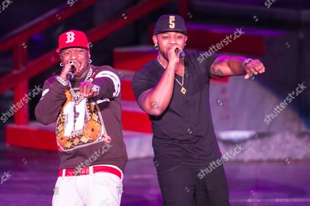 From left, Birdman (AKA Bryan Williams) and Mack Maine (AKA Jermaine Preyan) perform as a part of the America's Most Wanted Tour at the Verizon Wireless Amphitheater on in Irvine, Calif