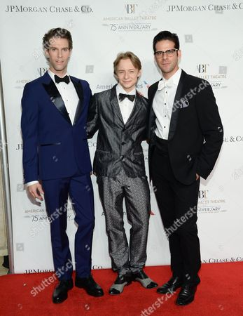 Ballet dancers James Whiteside, left, Daniil Simkin and Marcelo Gomes attend the American Ballet Theatre's 75th Anniversary Gala at the David H. Koch Theater, in New York
