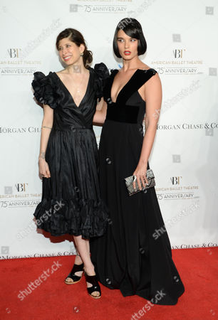 Pamela Love, left, and Crystal Renn attend the American Ballet Theatre's 75th Anniversary Gala at the David H. Koch Theater, in New York