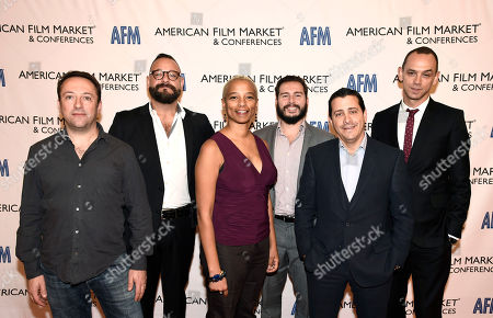 Stock Picture of Myles Nestel, Co-Founder/Partner, The Solution Entertainment Group, Joe Chianese, Executive Vice President at EP Financial Solutions, Yolanda T. Cochran, Producer/Production Consultant, Miguel Palos, CFO of IM Global, David C. Glasser, Chief Operating Officer and President for The Weinstein Company (TWC), and Micah Green, Co-Head of Film Finance CAA, seen at the American Film Market Finance Conference I: The 360 View at the Fairmont Hotel, in Santa Monica, Calif