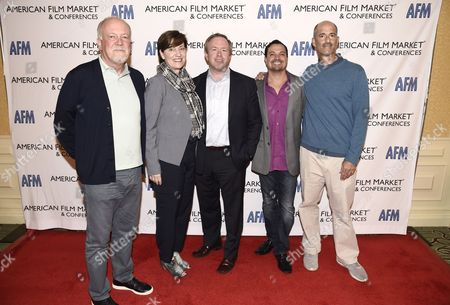 Michael Ryan, Partner at GFM Films and Chairman of IFTA, Zanne Devine, EVP of Film & Television at Miramax, Paul Hanson, CEO of Covert Media, Richard Botto, Founder & CEO of Stage 32, and Mitchell Peck, Producer at Peck Entertainment, arrive at the American Film Market Finance Conference II: Producing Studio Films with Independent Budgets at the Fairmont Hotel, in Santa Monica, Calif