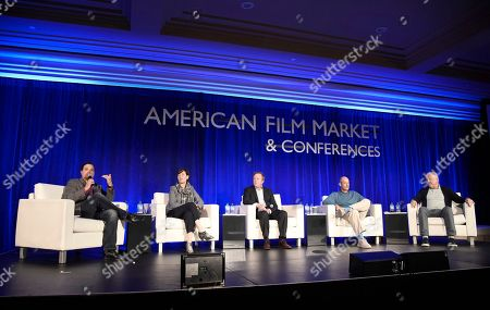 Richard Botto, Founder & CEO of Stage 32, Zanne Devine, EVP of Film & Television at Miramax, Paul Hanson, CEO of Covert Media, Mitchell Peck, Producer at Peck Entertainment, and Michael Ryan, Partner at GFM Films and Chairman of IFTA, speak at the American Film Market Finance Conference II: Producing Studio Films with Independent Budgets at the Fairmont Hotel, in Santa Monica, Calif