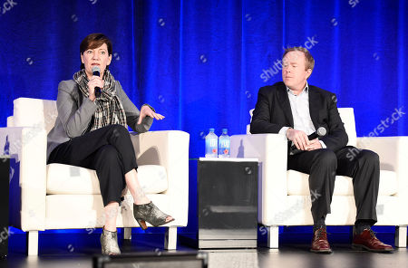 Zanne Devine, EVP of Film & Television at Miramax, and Paul Hanson, CEO of Covert Media, speak at the American Film Market Finance Conference II: Producing Studio Films with Independent Budgets at the Fairmont Hotel, in Santa Monica, Calif