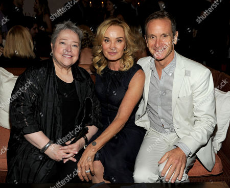 From left, actors Kathy Bates and Jessica Lange and EP Dante Di Loreto attend the American Horror Story: Coven Premiere Event,, at Fig & Olive in West Hollywood, Calif