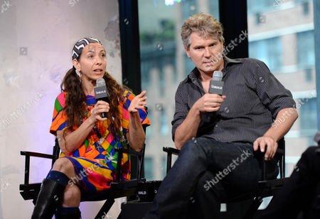 """Moon Zappa, left, and filmmaker Thorsten Schutte participate in AOL's BUILD Speaker Series to discuss the documentary film, """"Eat That Question: Frank Zappa In His Own Words"""", at AOL Studios, in New York"""
