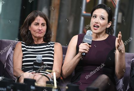 "Directors Jill Bauer, left, and Ronna Gradus participate in AOL's BUILD Speaker Series to discuss the new film ""Hot Girls Wanted"" at AOL Studios, in New York"