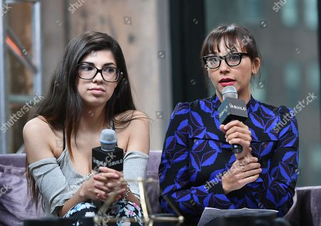 """Former amateur porn actress Rachel Bernard, left, and producer Rashida Jones participate in AOL's BUILD Speaker Series to discuss the film """"Hot Girls Wanted"""" at AOL Studios, in New York"""