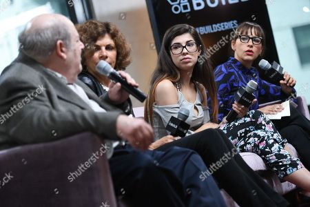 """Senior editor and chief legal analyst for AVN Media Network, Mark Kernes, left, former American Civil Liberties Union president Nadine Strossen, former amateur porn actress Rachel Bernard and producer Rashida Jones participate in AOL's BUILD Speaker Series to discuss the film """"Hot Girls Wanted"""" at AOL Studios, in New York"""