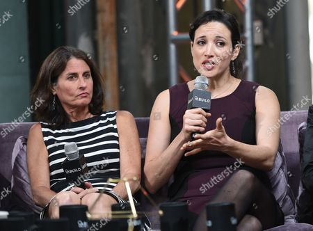 "Directors Jill Bauer, left, and Ronna Gradus participate in AOL's BUILD Speaker Series to discuss their documentary film ""Hot Girls Wanted"" at AOL Studios, in New York"