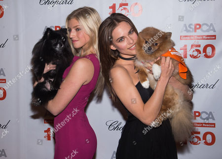 Niamh Adkins, left, and Lana Zakocela attend ASPCA's 19th annual Bergh Ball honoring Drew Barrymore at The Plaza Hotel, in New York