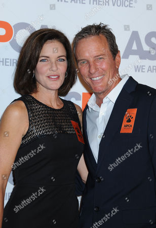 Linden Ashby, at right, and his wife, Susan Walters arrive at ASPCA Cocktail Event honoring Kaley Cuoco - Sweeting and Nikki Reed at a Bel Air private residence, in Los Angeles