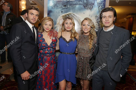 Alex Roe, Chloe Grace Moretz, Lia Marie Johnson, Maika Monroe and Nick Robinson seen at AwesomenessTV special fan screening of Columbia Pictures 'The 5th Wave' at Pacific Theatres at the Grove, in Los Angeles, CA
