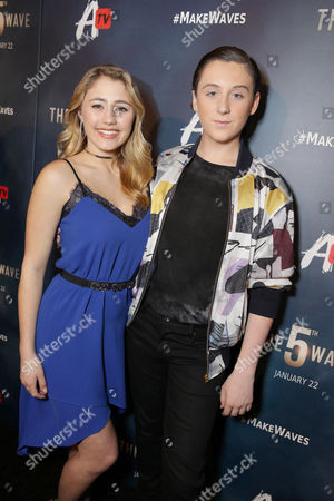 Lia Marie Johnson and Trevor Moran seen at AwesomenessTV special fan screening of Columbia Pictures 'The 5th Wave' at Pacific Theatres at the Grove, in Los Angeles, CA