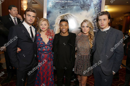 Alex Roe, Chloe Grace Moretz, Josh Levi, Maika Monroe and Nick Robinson seen at AwesomenessTV special fan screening of Columbia Pictures 'The 5th Wave' at Pacific Theatres at the Grove, in Los Angeles, CA
