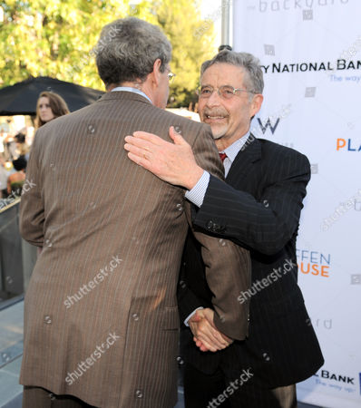 Alan Horn, Chairman of The Walt Disney Studios, left, and Barry Meyer, chairman of Warner Bros., attend the Backstage at the Geffen gala donor dinner at the W Hotel, in Los Angeles