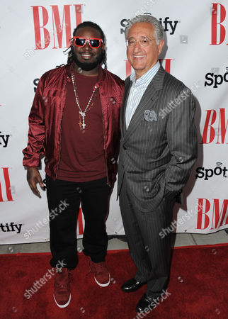 T-Pain and Del Bryant, BMI President & CEO arrive at the BMI Urban Awards on in Beverly Hills, Calif
