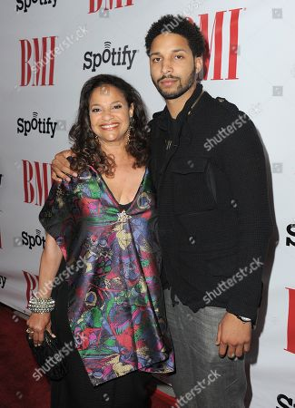 Stock Image of Debbie Allen and son Norman Nixon Jr. arrive at the BMI Urban Awards on in Beverly Hills, Calif