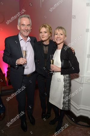 """Author Martin Sixsmith and Actress Sophie Kennedy Clark (middle) attend the after party of the American Express Gala Screening of """"Philomena"""" at 6, Burlington Gardens, during the 57th BFI London Film Festival in partnership with American Express, in London"""