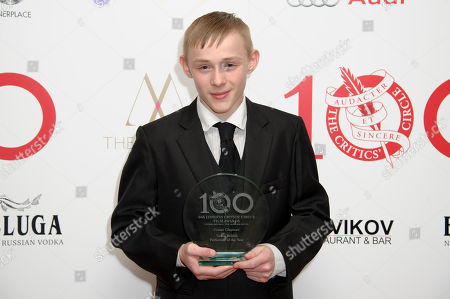 British actor Conner Chapman with his award for Young British Performer of the Year at The London Critics Circle Awards, in London