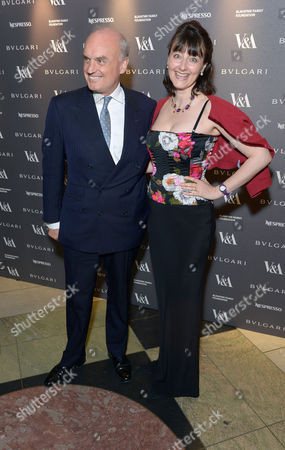 Nicholas Coleridge, Georgia Metcalfe attend a private dinner celebrating the Victoria and Albert Museum's new exhibition 'The Glamour Of Italian Fashion 1945 - 2014' at Victoria and Albert Museum on Tuesday, April. 1st, 2014