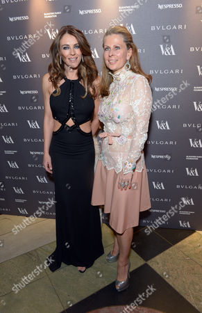 Elizabeth Hurley, Aliai Forte attend a private dinner celebrating the Victoria and Albert Museum's new exhibition 'The Glamour Of Italian Fashion 1945 - 2014' at Victoria and Albert Museum on Tuesday, April. 1st, 2014