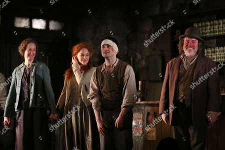"""Stock Image of From left, Ingrid Craigie, Sarah Greene, Daniel Radcliffe and Pat Shortt appear at the opening night curtain call of """"The Cripple of Inishmaan"""", in New York"""