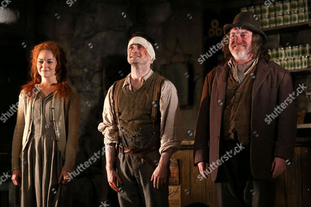 """Stock Picture of From left, Sarah Greene, Daniel Radcliffe and Pat Shortt appear at the opening night curtain call of """"The Cripple of Inishmaan"""", in New York"""