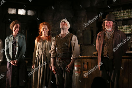 """From left, Ingrid Craigie, Sarah Greene, Daniel Radcliffe and Pat Shortt appear at the opening night curtain call of """"The Cripple of Inishmaan"""", in New York"""