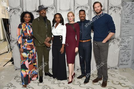 """Actors Aunjanue Ellis, from left, Colman Domingo, Aja Naomi King, Penelope Ann Miller, Nate Parker and Armie Hammer participate in the BUILD Speaker Series to discuss the film, """"The Birth of a Nation"""", at AOL Studios, in New York"""