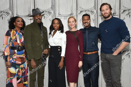 """Actors Aunjanue Ellis, left, Colman Domingo, Aja Naomi King, Penelope Ann Miller, Nate Parker and Armie Hammer participate in the BUILD Speaker Series to discuss the film, """"The Birth of a Nation"""", at AOL Studios, in New York"""