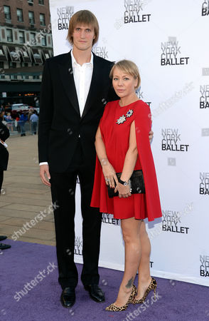 Professional basketball player Andrei Kirilenko and his wife singer Masha Kirilenko arrive for the New York City Ballet's Fall Fashion Gala at Lincoln Center, in New York