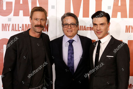 Stock Picture of Aaron Eckhart, Director Angelo Pizzo and Finn Wittrock seen at Clarius Entertainment Los Angeles Premiere of 'My All American' at The Grove, in Los Angeles, CA