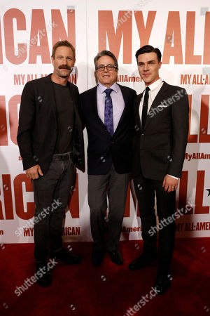 Stock Photo of Aaron Eckhart, Director Angelo Pizzo and Finn Wittrock seen at Clarius Entertainment Los Angeles Premiere of 'My All American' at The Grove, in Los Angeles, CA