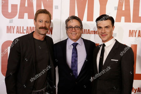 Stock Image of Aaron Eckhart, Director Angelo Pizzo and Finn Wittrock seen at Clarius Entertainment Los Angeles Premiere of 'My All American' at The Grove, in Los Angeles, CA