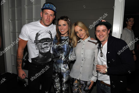 From left, Johnny Wujek, Sophia Bush, Mena Suvari and Jon Abrahams attend Clearly Chateau at The Chateau Marmont, in West Hollywood, Calif