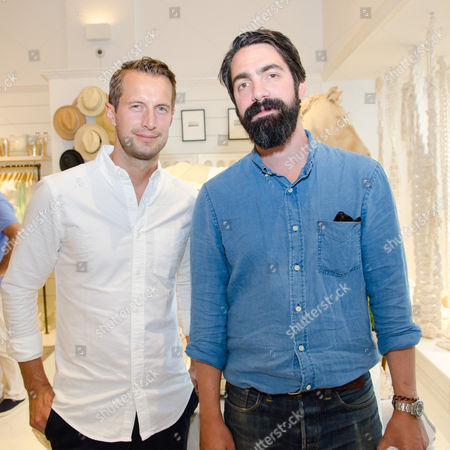Brendan Fallis and Aaron Levine attend a Club Monaco store opening event in Southampton on in New York