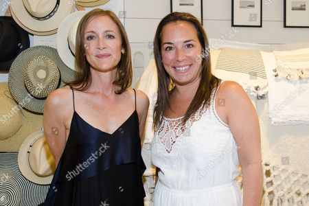 Caroline Belhumeur and Samantha Yanks attend a Club Monaco store opening event in Southampton on in New York