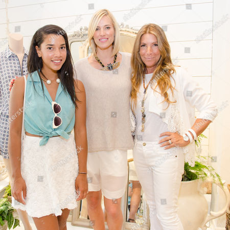 Hannah Bronfman, Kristen Taekman, and Jennifer Miller attend a Club Monaco store opening event in Southampton on in New York