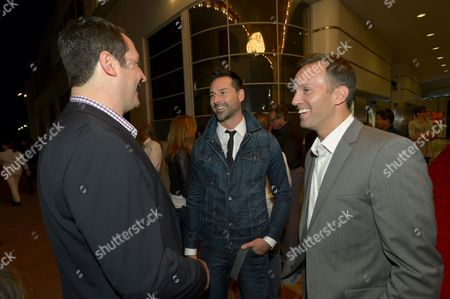 """From left, John Orlando, Head of Digital Development, Crackle, writer/director Paul Leyden and Eric Berger, Executive Vice President, Digital Networks, Crackle, attend the screening of """"Cleaners"""" at Sony Pictures Studio's Cary Grant Theater, in Culver City, Calif"""
