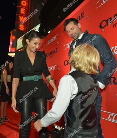 """From left, Emmanuelle Chriqui, writer/director Paul Leyden and Jakob Salvati attend the screening of """"Cleaners"""" at Sony Pictures Studio's Cary Grant Theater, in Culver City, Calif"""