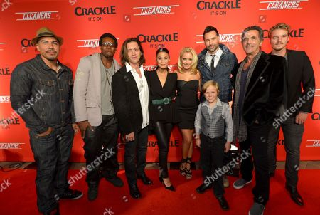 """From left, Burton Perez, Chris Jai Alex, Clifton Collins, Jr., Emmanuelle Chriqui, Emily Osment, Jakob Salvati, writer/director Paul Leyden, Robin Thomas and Nathan Keyes attend the screening of """"Cleaners"""" at Sony Pictures Studio's Cary Grant Theater, in Culver City, Calif"""