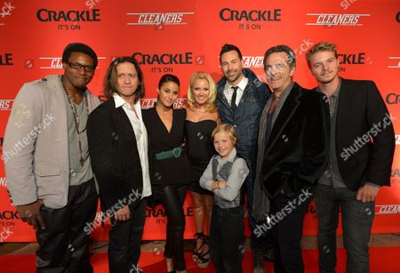 """From left, Chris Jai Alex, Clifton Collins, Jr., Emmanuelle Chriqui, Emily Osment, Jakob Salvati, writer/director Paul Leyden, Robin Thomas and Nathan Keyes attend the screening of """"Cleaners"""" at Sony Pictures Studio's Cary Grant Theater, in Culver City, Calif"""