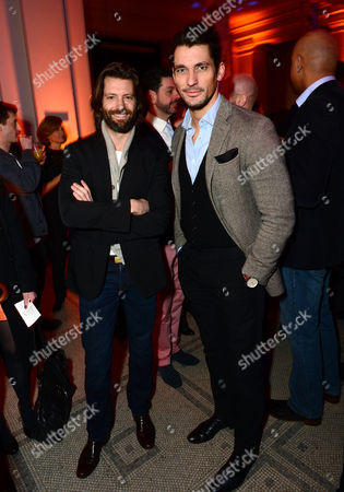 Louis Dowler and David Gandy seen at the VIP reception for the 'David Bowie Is' exhibition at the V&A Museum in London on